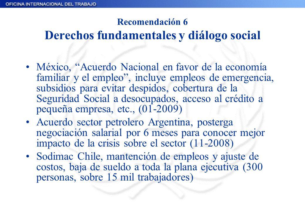 Recomendación 6 Derechos fundamentales y diálogo social México, Acuerdo Nacional en favor de la economía familiar y el empleo, incluye empleos de emer