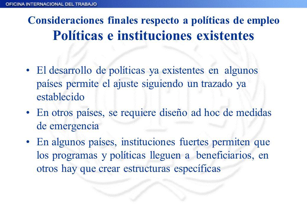 Consideraciones finales respecto a políticas de empleo Políticas e instituciones existentes El desarrollo de políticas ya existentes en algunos países