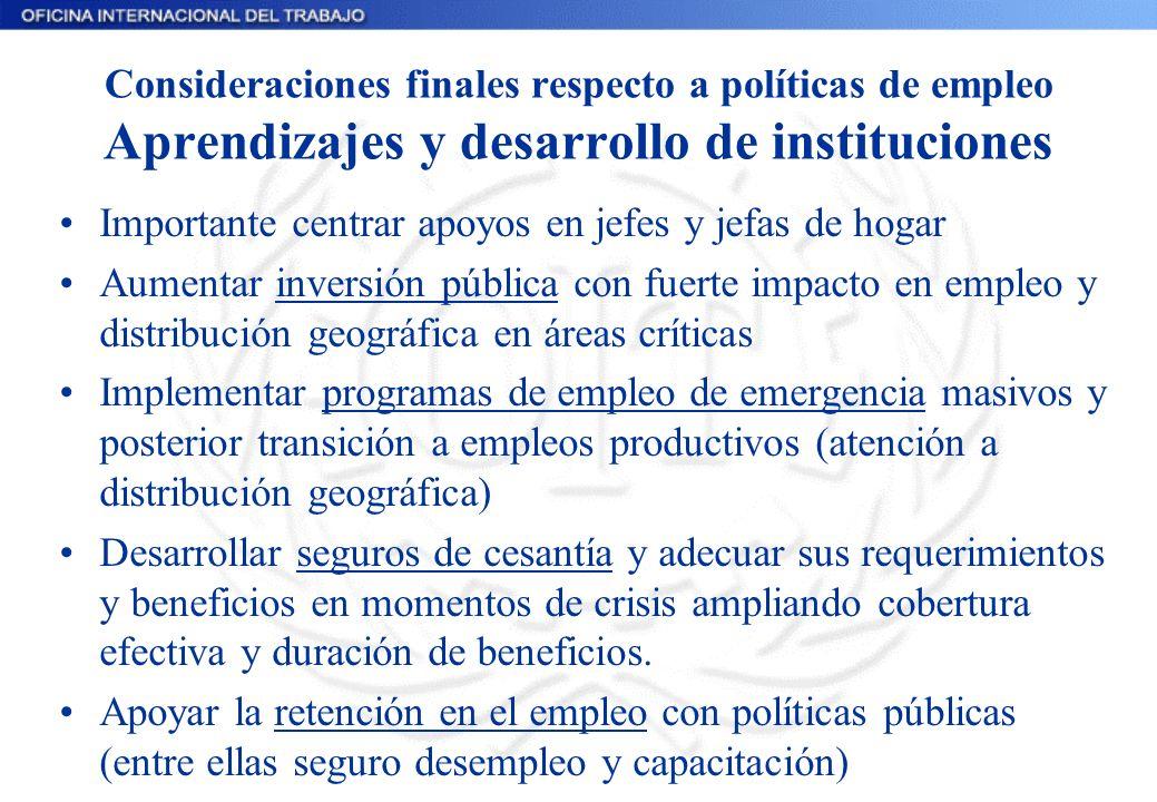 Consideraciones finales respecto a políticas de empleo Aprendizajes y desarrollo de instituciones Importante centrar apoyos en jefes y jefas de hogar