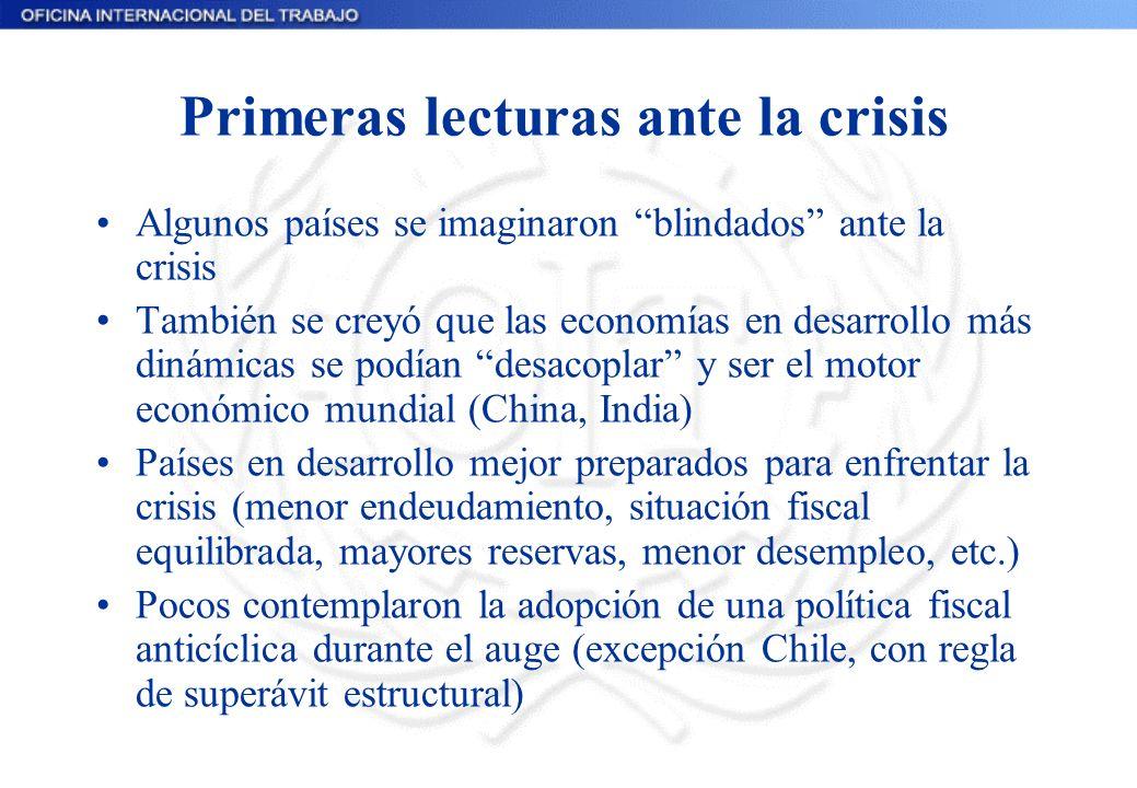 Primeras lecturas ante la crisis Algunos países se imaginaron blindados ante la crisis También se creyó que las economías en desarrollo más dinámicas