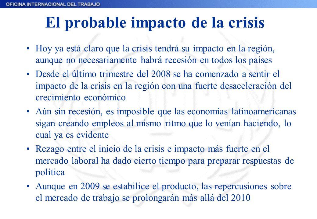 El probable impacto de la crisis Hoy ya está claro que la crisis tendrá su impacto en la región, aunque no necesariamente habrá recesión en todos los