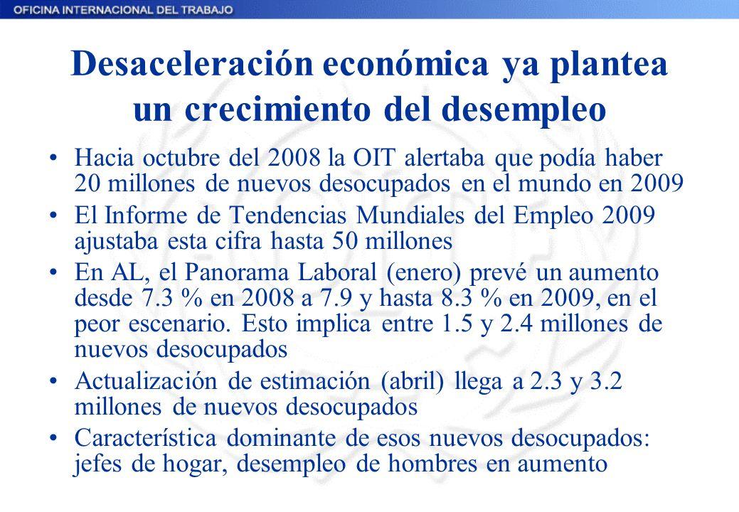 Desaceleración económica ya plantea un crecimiento del desempleo Hacia octubre del 2008 la OIT alertaba que podía haber 20 millones de nuevos desocupados en el mundo en 2009 El Informe de Tendencias Mundiales del Empleo 2009 ajustaba esta cifra hasta 50 millones En AL, el Panorama Laboral (enero) prevé un aumento desde 7.3 % en 2008 a 7.9 y hasta 8.3 % en 2009, en el peor escenario.