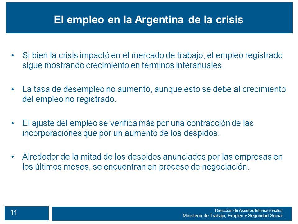 11 Dirección de Asuntos Internacionales, Ministerio de Trabajo, Empleo y Seguridad Social.