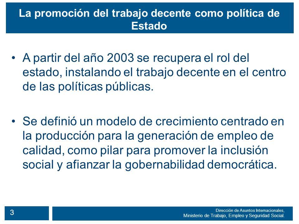 4 Dirección de Asuntos Internacionales, Ministerio de Trabajo, Empleo y Seguridad Social.