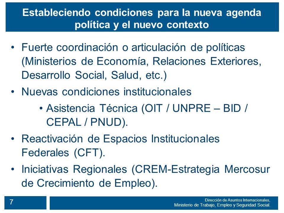 8 Dirección de Asuntos Internacionales, Ministerio de Trabajo, Empleo y Seguridad Social.