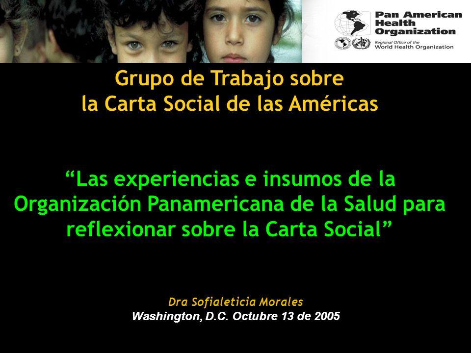 Grupo de Trabajo sobre la Carta Social de las Américas Las experiencias e insumos de la Organización Panamericana de la Salud para reflexionar sobre l