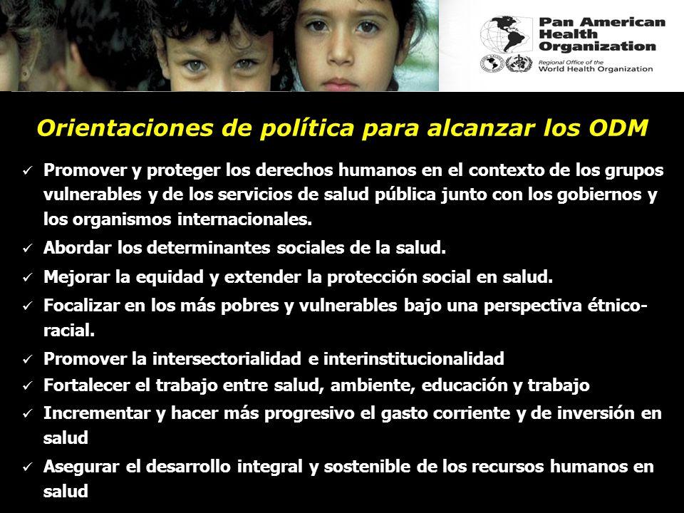 Promover y proteger los derechos humanos en el contexto de los grupos vulnerables y de los servicios de salud pública junto con los gobiernos y los or