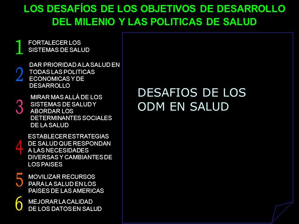 DESAFIOS DE LOS ODM EN SALUD DAR PRIORIDAD A LA SALUD EN TODAS LAS POLITICAS ECONOMICAS Y DE DESARROLLO MIRAR MAS ALLÁ DE LOS SISTEMAS DE SALUD Y ABOR