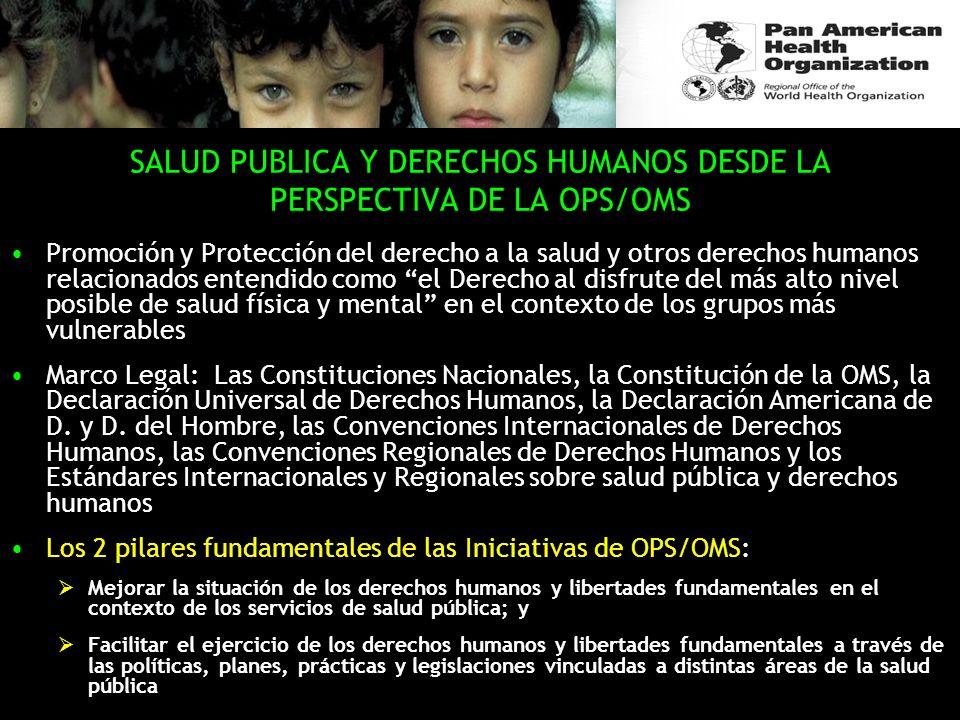 SALUD PUBLICA Y DERECHOS HUMANOS DESDE LA PERSPECTIVA DE LA OPS/OMS Promoción y Protección del derecho a la salud y otros derechos humanos relacionado