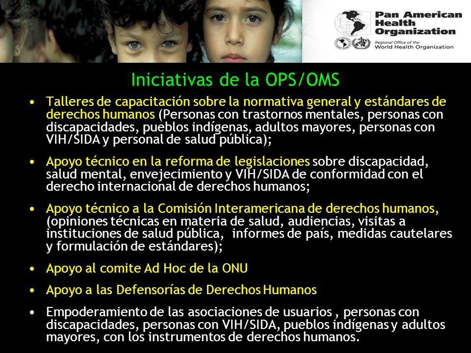 Iniciativas de la OPS/OMS Talleres de capacitación sobre la normativa general y estándares de derechos humanos (Personas con trastornos mentales, pers