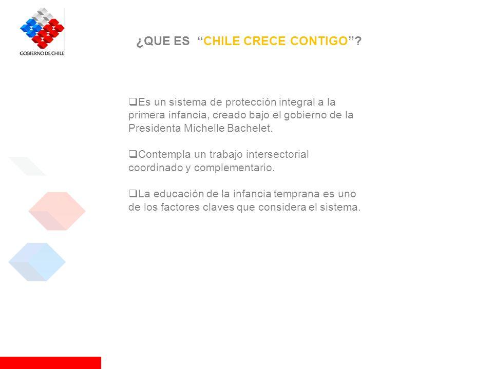 ¿QUE ES CHILE CRECE CONTIGO? Es un sistema de protección integral a la primera infancia, creado bajo el gobierno de la Presidenta Michelle Bachelet. C