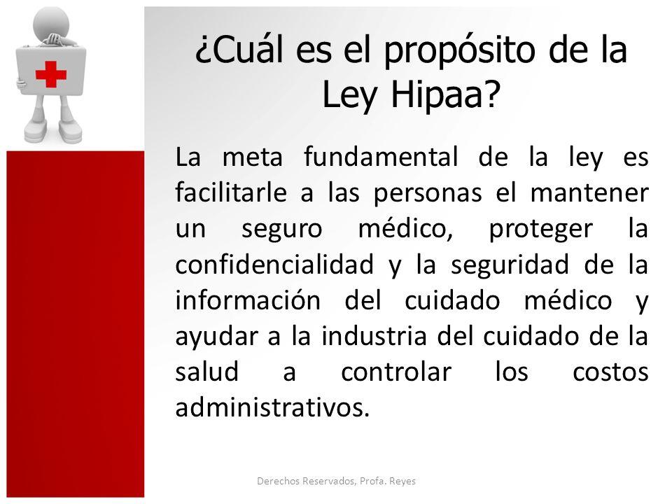 Derechos Reservados, Profa.Reyes Continuación…. Proteger la Información de Salud del individuo.