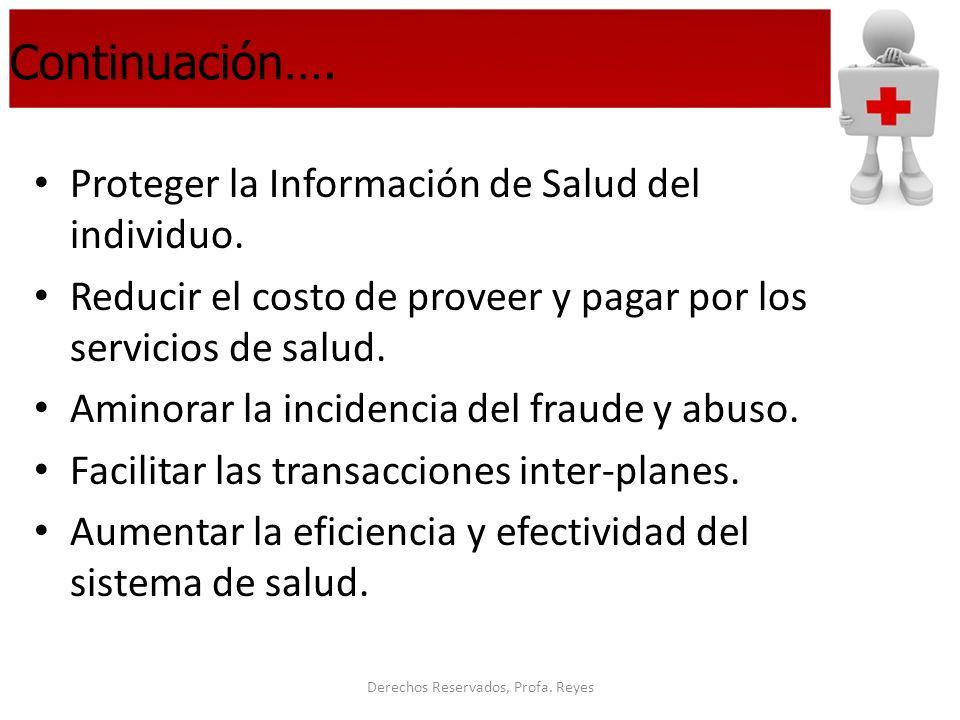 Derechos Reservados, Profa. Reyes Continuación…. Proteger la Información de Salud del individuo. Reducir el costo de proveer y pagar por los servicios