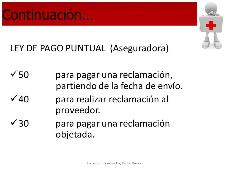 Derechos Reservados, Profa. Reyes Continuación… LEY DE PAGO PUNTUAL (Aseguradora) 50 para pagar una reclamación, partiendo de la fecha de envío. 40par