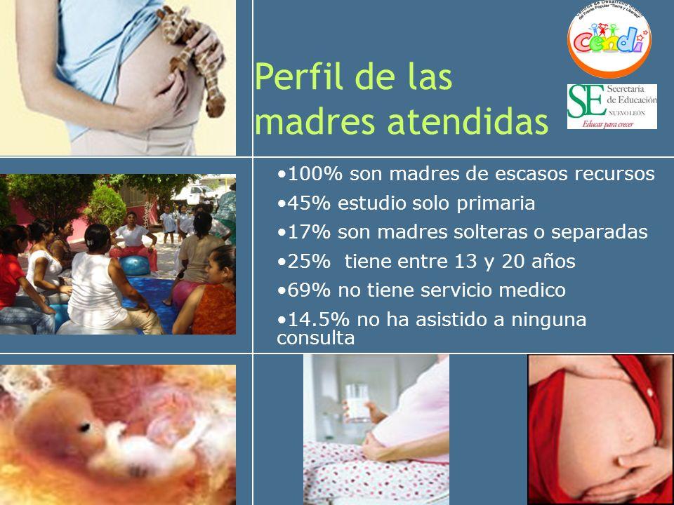 Perfil de las madres atendidas 100% son madres de escasos recursos 45% estudio solo primaria 17% son madres solteras o separadas 25% tiene entre 13 y