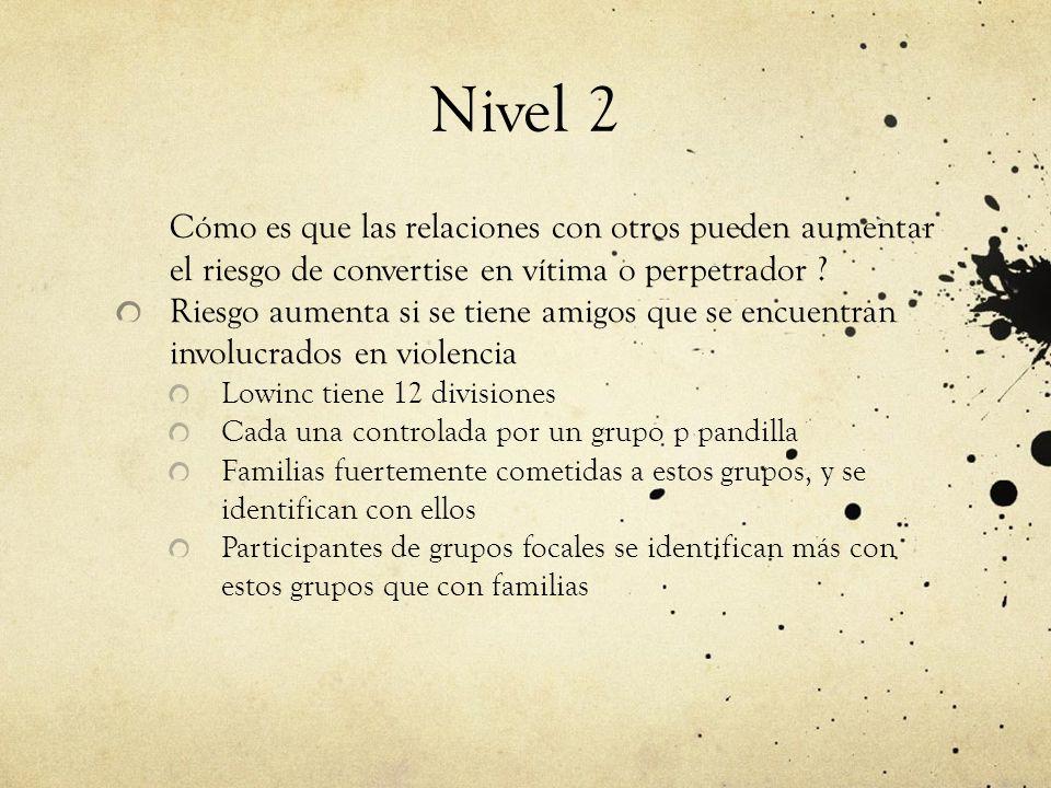 Nivel 2 Cómo es que las relaciones con otros pueden aumentar el riesgo de convertise en vítima o perpetrador .