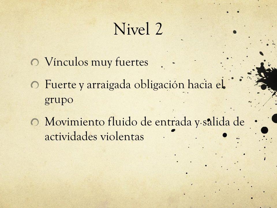 Nivel 2 Vínculos muy fuertes Fuerte y arraigada obligación hacia el grupo Movimiento fluido de entrada y salida de actividades violentas