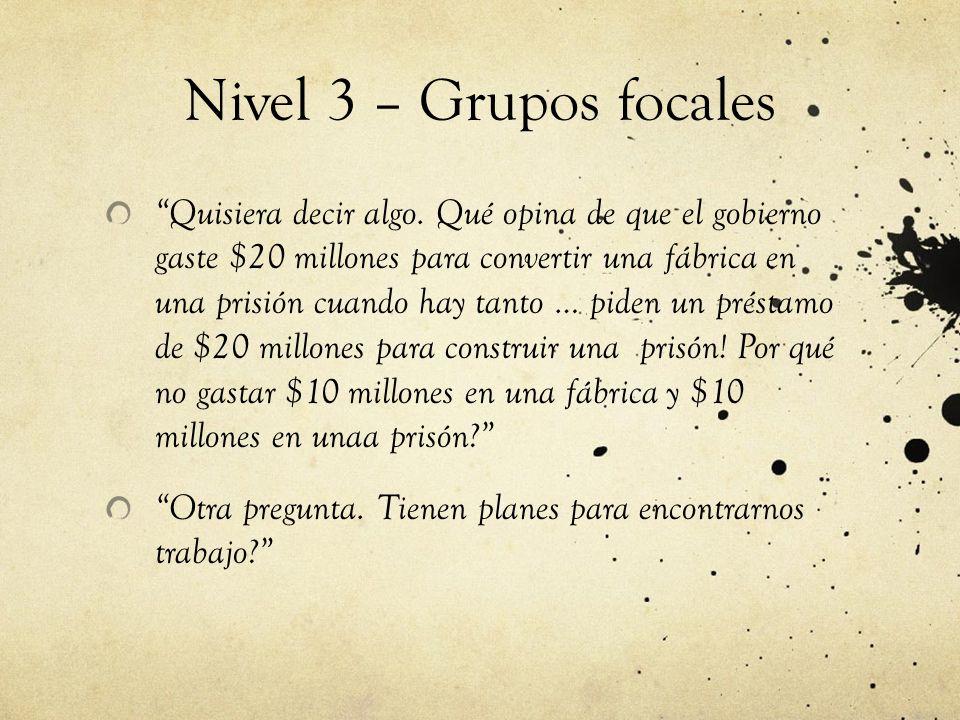 Nivel 3 – Grupos focales Quisiera decir algo.