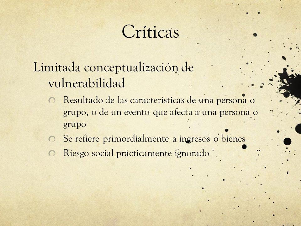 Vulnerabilidad de acuerdo a los críticos Riesgos son posiblemente son estructurales–grupos marginalizados Perspectiva de derechos Se enfoca en cuestiones de equidad y en intervenciones que modifican actitudes perjudiciales para grupos socialmente vulnerables.