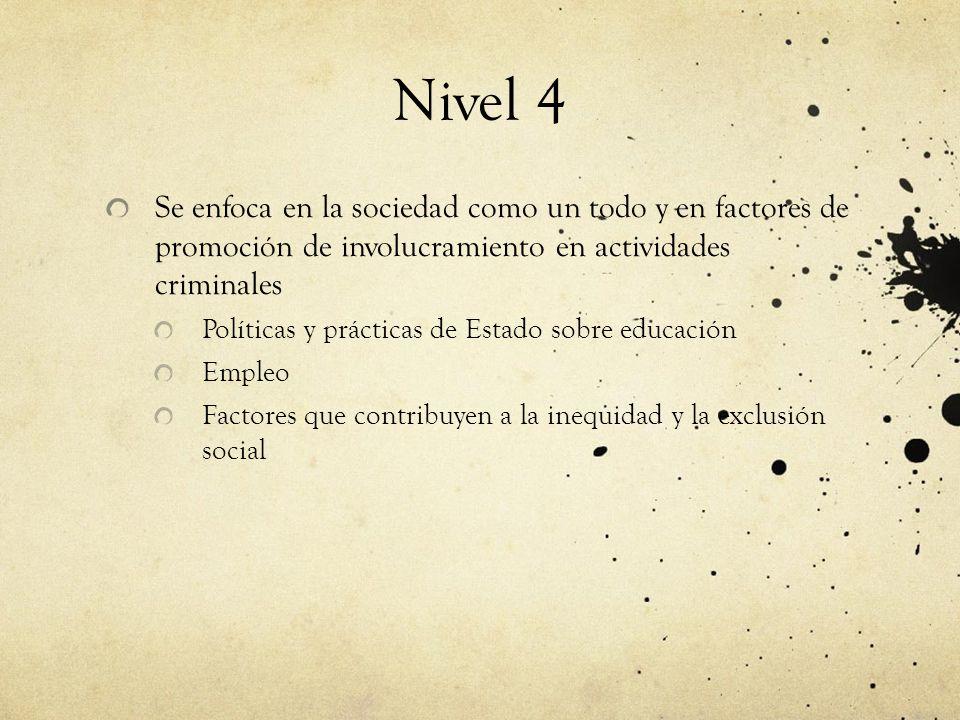 Nivel 4 Se enfoca en la sociedad como un todo y en factores de promoción de involucramiento en actividades criminales Políticas y prácticas de Estado sobre educación Empleo Factores que contribuyen a la inequidad y la exclusión social