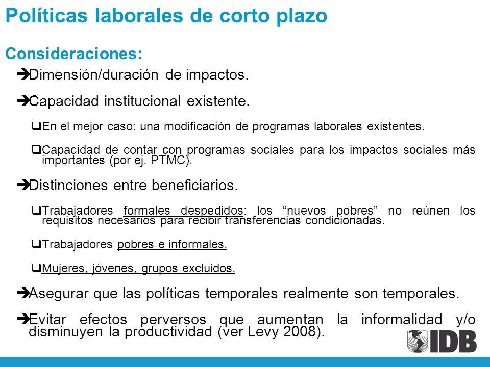 èDimensión/duración de impactos. èCapacidad institucional existente.