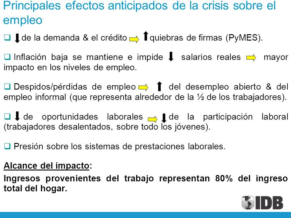 Principales efectos anticipados de la crisis sobre el empleo de la demanda & el crédito quiebras de firmas (PyMES).