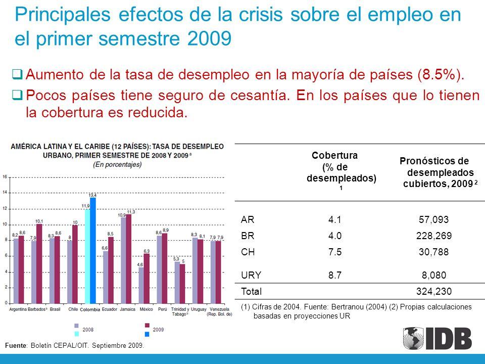 Principales efectos de la crisis sobre el empleo en el primer semestre 2009 Fuente: Boletín CEPAL/OIT.