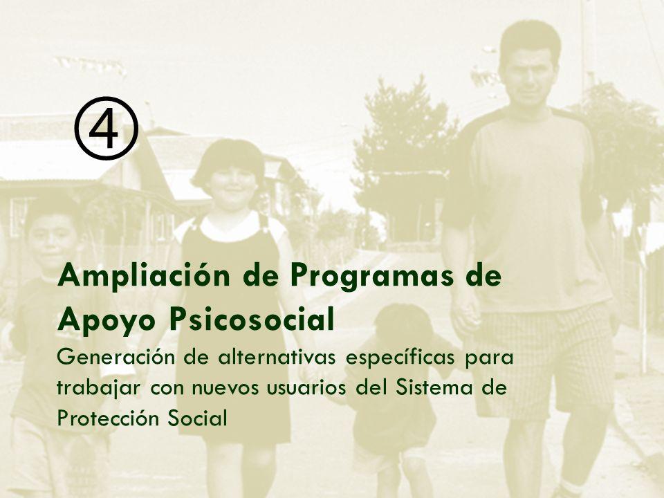 Ampliación de Programas de Apoyo Psicosocial Generación de alternativas específicas para trabajar con nuevos usuarios del Sistema de Protección Social