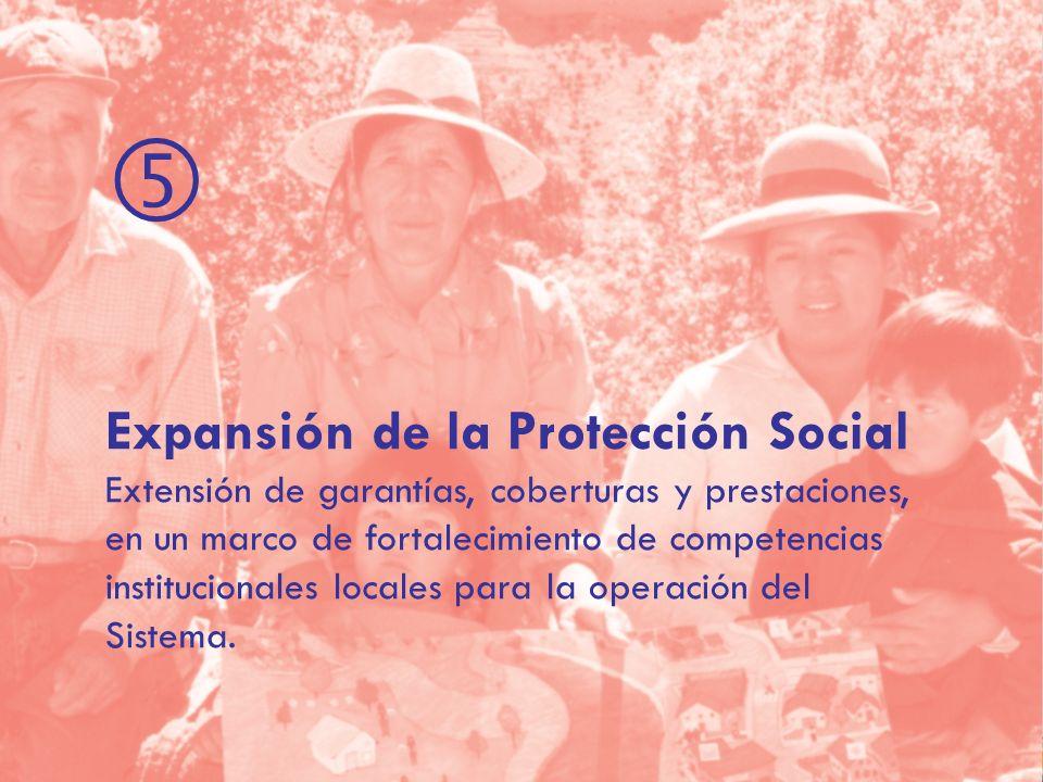 Expansión de la Protección Social Extensión de garantías, coberturas y prestaciones, en un marco de fortalecimiento de competencias institucionales locales para la operación del Sistema.