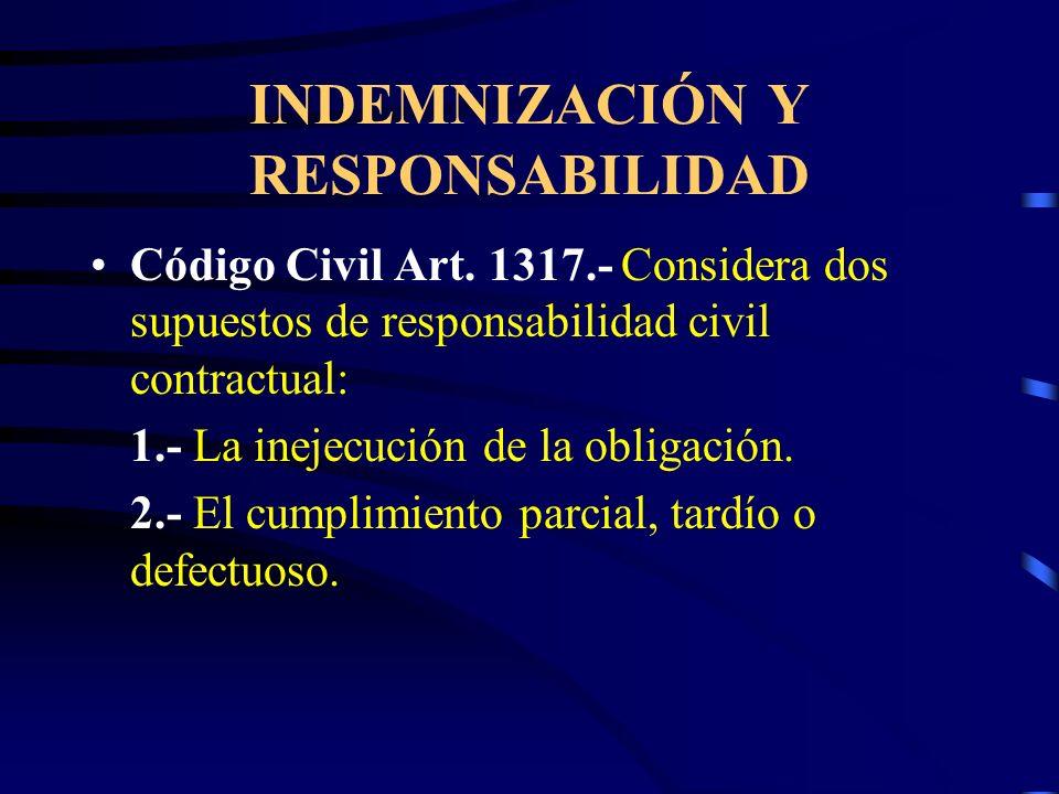 INDEMNIZACIÓN Y RESPONSABILIDAD Responsabilidad civil contractual. Es la derivada de la inejecución de obligaciones asumidas voluntariamente Responsab