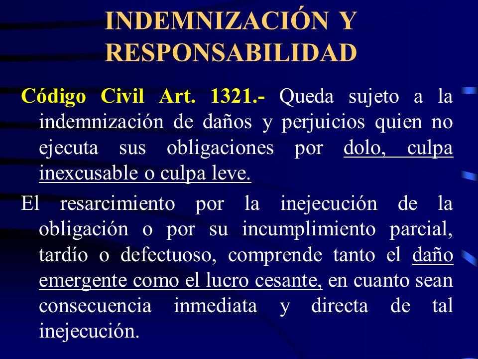 INDEMNIZACIÓN Y RESPONSABILIDAD Código Civil Art. 1317.- Considera dos supuestos de responsabilidad civil contractual: 1.- La inejecución de la obliga