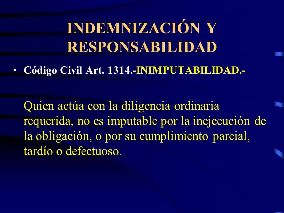 INDEMNIZACIÓN Y RESPONSABILIDAD Código Civil Art. 1318.- Procede con dolo quien deliberadamente no ejecuta la obligación. Código Civil Art. 1319.- Inc