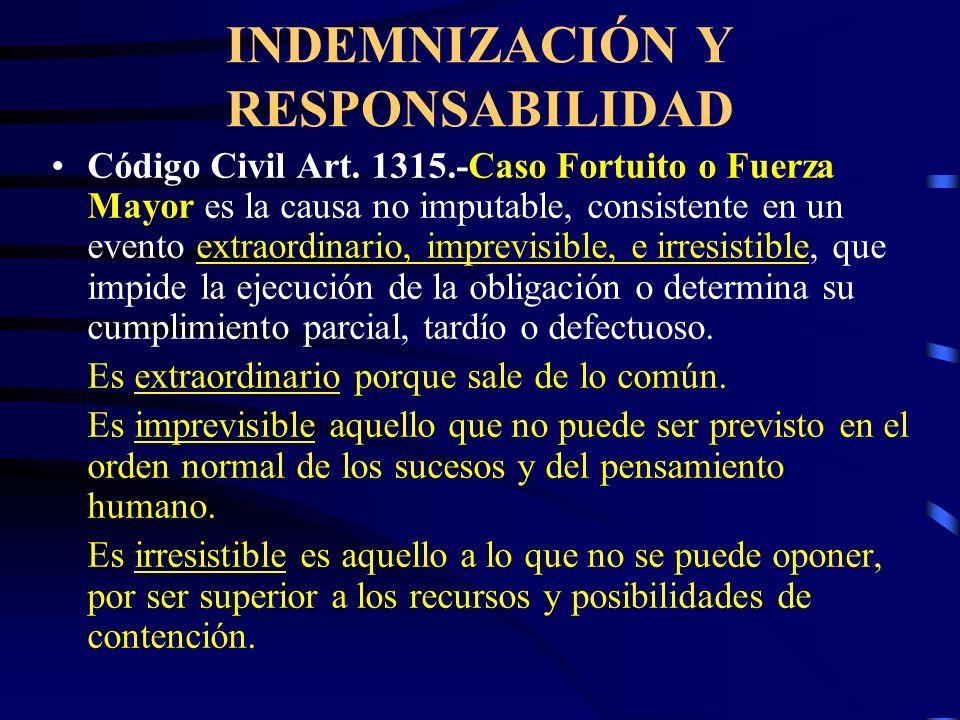 INDEMNIZACIÓN Y RESPONSABILIDAD Código Civil Art. 1314.-INIMPUTABILIDAD.- Quien actúa con la diligencia ordinaria requerida, no es imputable por la in