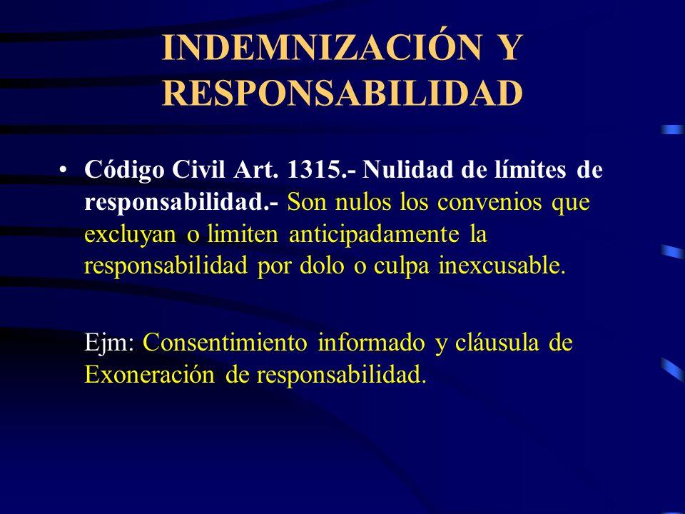 INDEMNIZACIÓN Y RESPONSABILIDAD Código Civil Art. 1315.-Caso Fortuito o Fuerza Mayor es la causa no imputable, consistente en un evento extraordinario