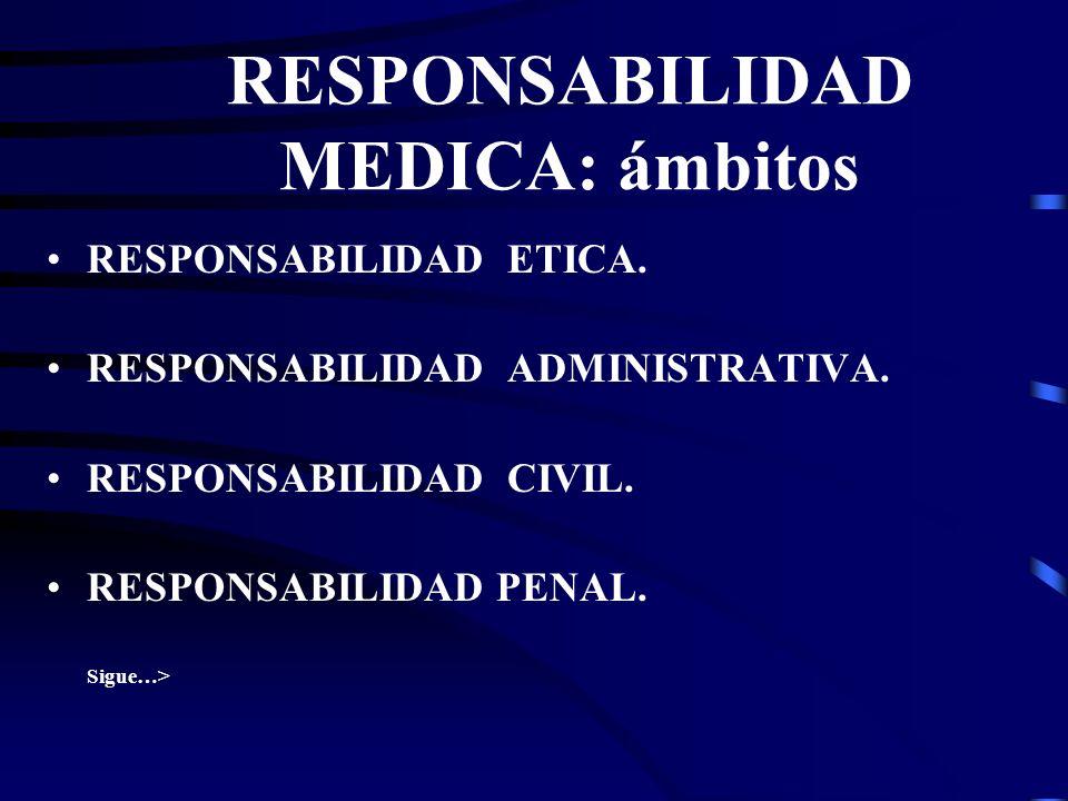 RESPONSABILIDAD MEDICA Es la expresión que se refiere a la responsabilidad en general del médico en el ejercicio de su profesión. Es tan amplia que no
