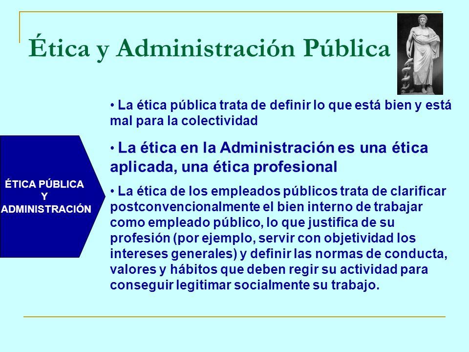 ÉTICA PÚBLICA Y ADMINISTRACIÓN La ética pública trata de definir lo que está bien y está mal para la colectividad La ética en la Administración es una