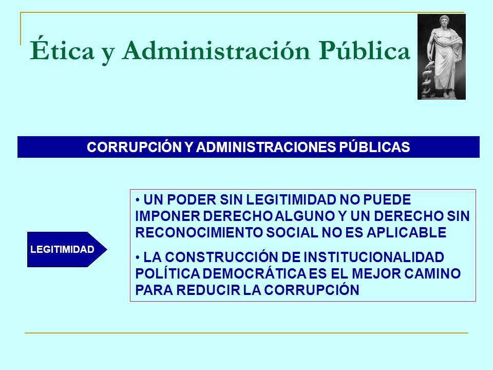 Ética y Administración Pública CORRUPCIÓN Y ADMINISTRACIONES PÚBLICAS LEGITIMIDAD UN PODER SIN LEGITIMIDAD NO PUEDE IMPONER DERECHO ALGUNO Y UN DERECH