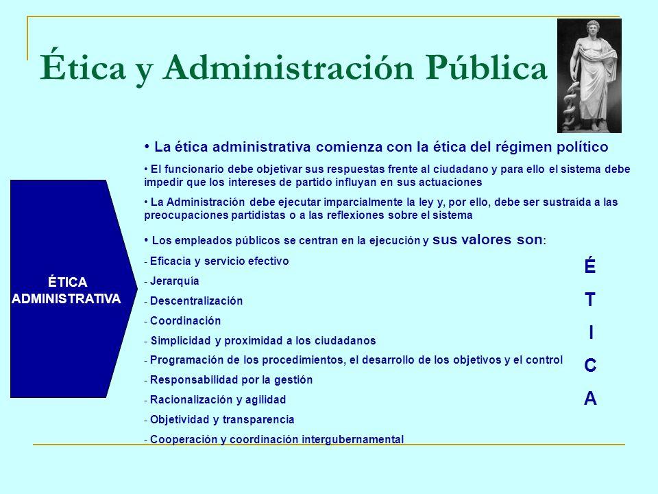 Ética y Administración Pública ÉTICA ADMINISTRATIVA La ética administrativa comienza con la ética del régimen político El funcionario debe objetivar s