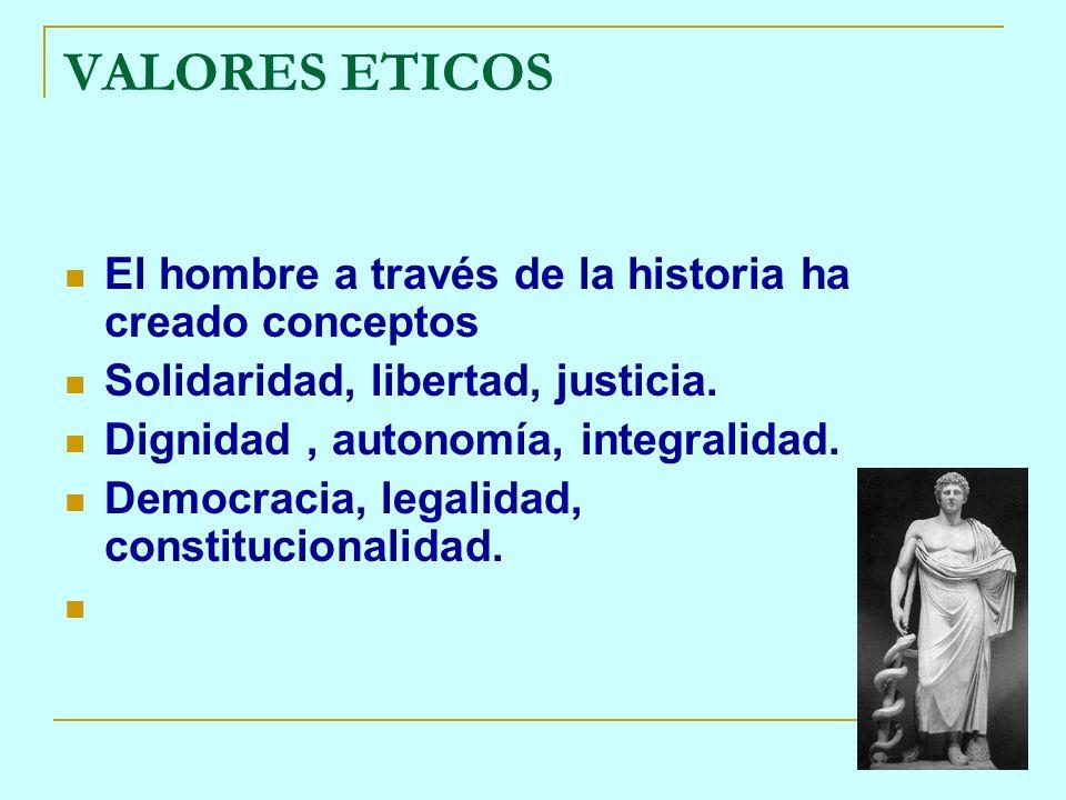 VALORES ETICOS El hombre a través de la historia ha creado conceptos Solidaridad, libertad, justicia. Dignidad, autonomía, integralidad. Democracia, l