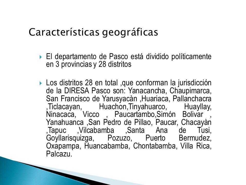 El departamento de Pasco está dividido políticamente en 3 provincias y 28 distritos Los distritos 28 en total,que conforman la jurisdicción de la DIRESA Pasco son: Yanacancha, Chaupimarca, San Francisco de Yarusyacàn,Huariaca, Pallanchacra,Ticlacayan, Huachon,Tinyahuarco, Huayllay, Ninacaca, Vicco, Paucartambo,Simón Bolivar, Yanahuanca,San Pedro de Pillao, Paucar, Chacayàn,Tapuc,Vilcabamba,Santa Ana de Tusi, Goyllarisquizga, Pozuzo, Puerto Bermudez, Oxapampa, Huancabamba, Chontabamba, Villa Rica, Palcazu.