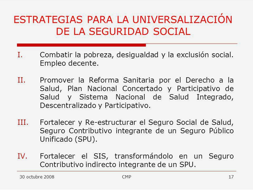 30 octubre 2008CMP17 ESTRATEGIAS PARA LA UNIVERSALIZACIÓN DE LA SEGURIDAD SOCIAL I.Combatir la pobreza, desigualdad y la exclusión social. Empleo dece