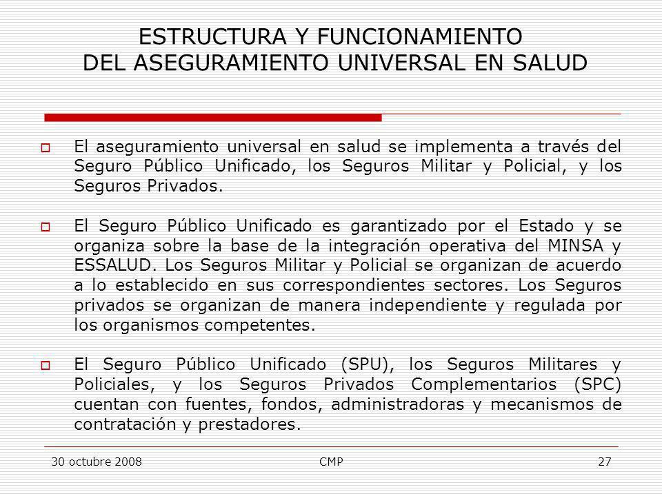 30 octubre 2008CMP27 El aseguramiento universal en salud se implementa a través del Seguro Público Unificado, los Seguros Militar y Policial, y los Se