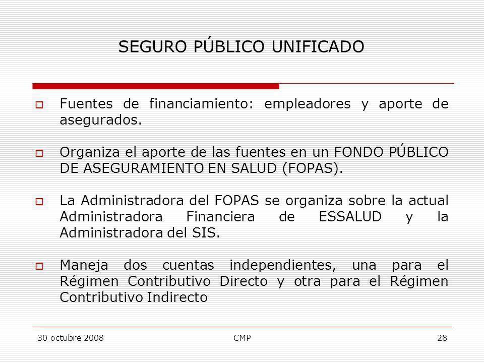 30 octubre 2008CMP28 Fuentes de financiamiento: empleadores y aporte de asegurados. Organiza el aporte de las fuentes en un FONDO PÚBLICO DE ASEGURAMI