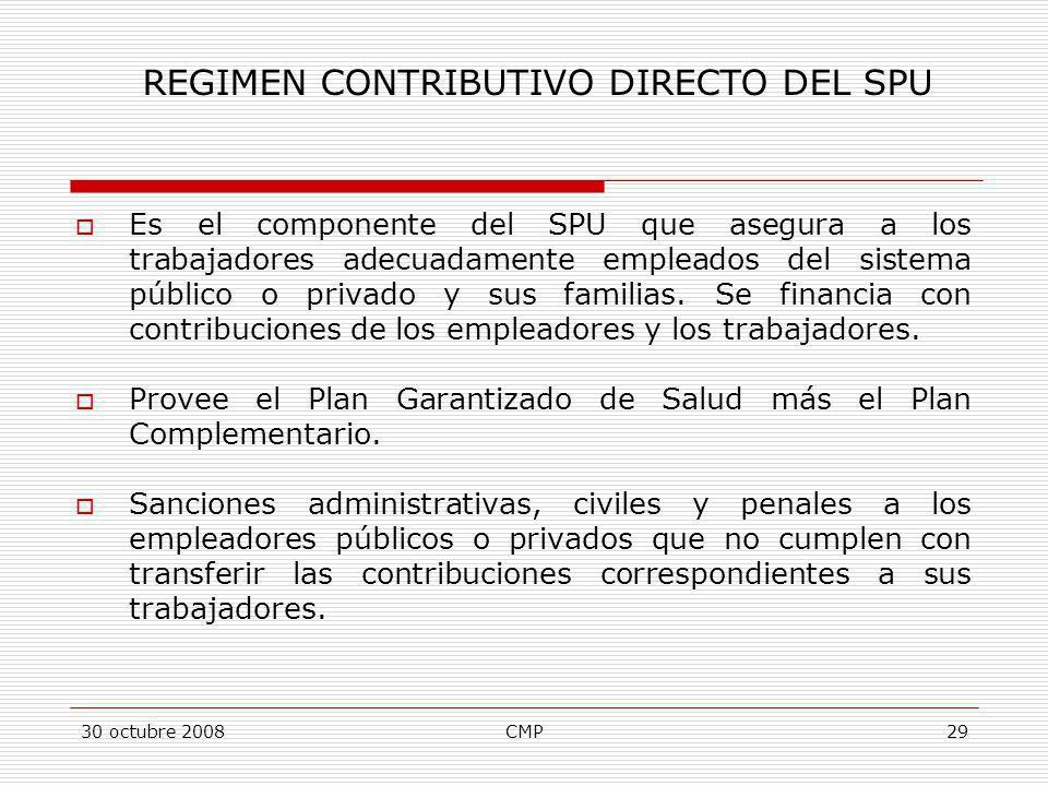 30 octubre 2008CMP29 Es el componente del SPU que asegura a los trabajadores adecuadamente empleados del sistema público o privado y sus familias. Se