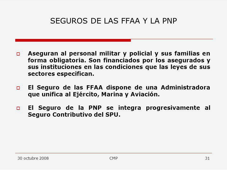 30 octubre 2008CMP31 SEGUROS DE LAS FFAA Y LA PNP Aseguran al personal militar y policial y sus familias en forma obligatoria. Son financiados por los