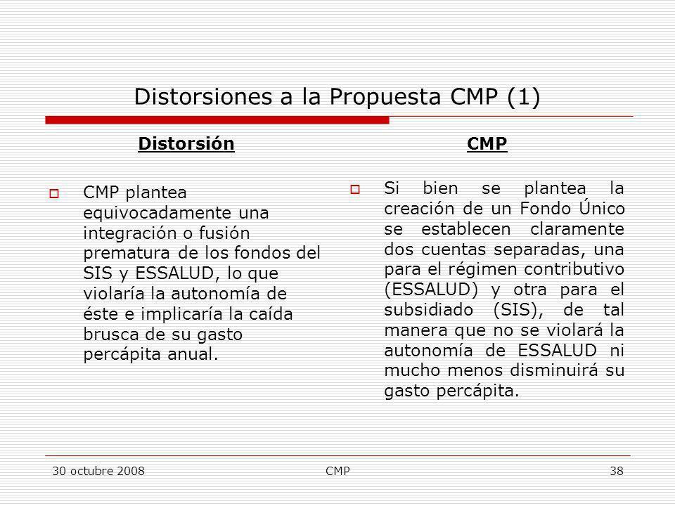 30 octubre 2008CMP38 Distorsiones a la Propuesta CMP (1) Distorsión CMP plantea equivocadamente una integración o fusión prematura de los fondos del S
