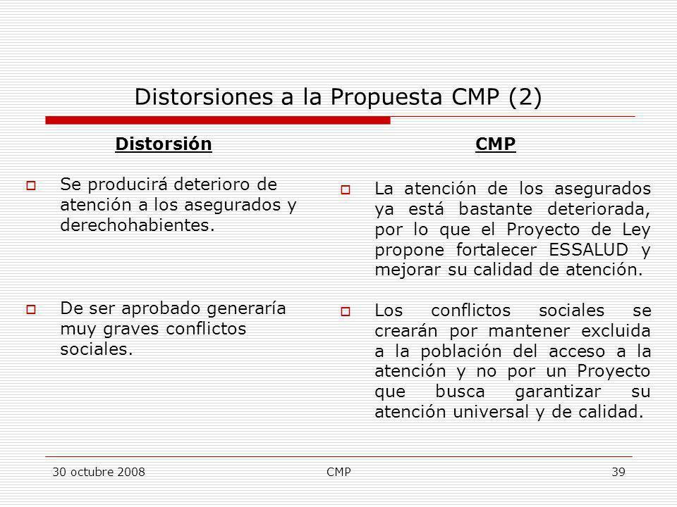 30 octubre 2008CMP39 Distorsiones a la Propuesta CMP (2) Distorsión Se producirá deterioro de atención a los asegurados y derechohabientes. De ser apr