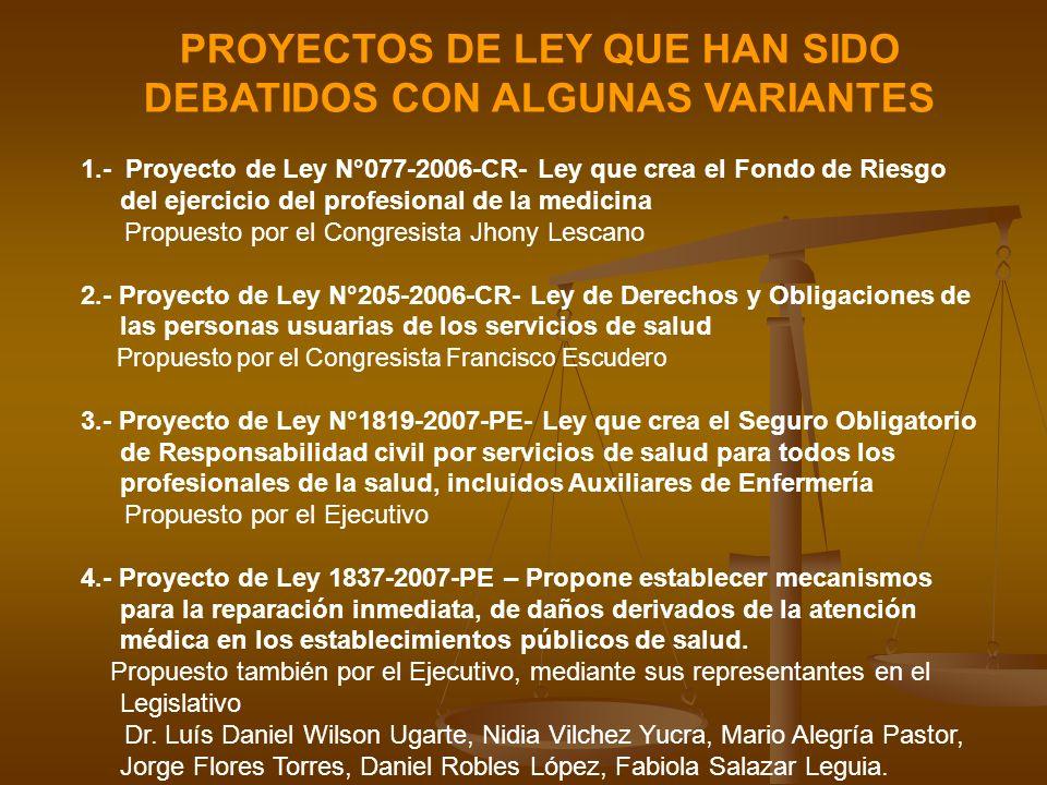 PROYECTOS DE LEY QUE HAN SIDO DEBATIDOS CON ALGUNAS VARIANTES 1.- Proyecto de Ley N°077-2006-CR- Ley que crea el Fondo de Riesgo del ejercicio del pro
