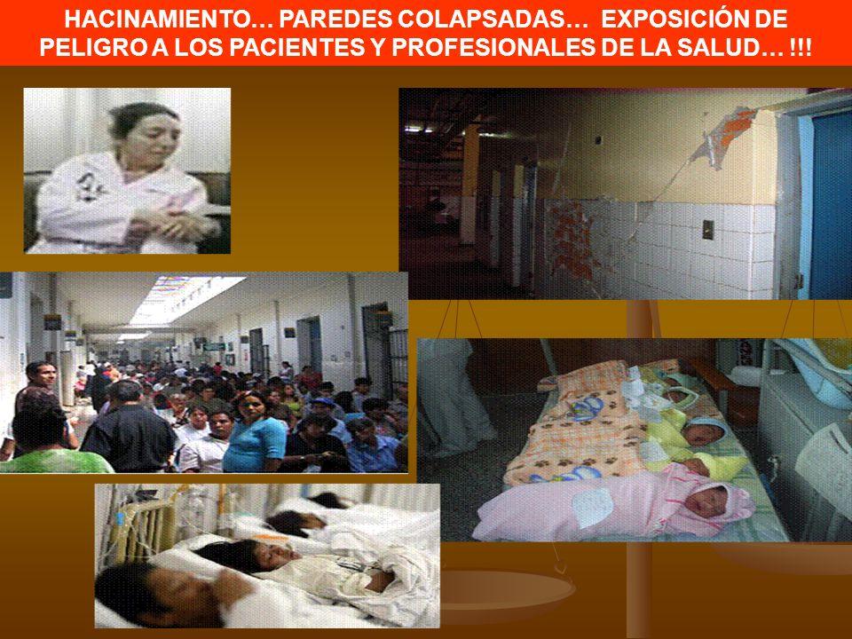 HACINAMIENTO… PAREDES COLAPSADAS… EXPOSICIÓN DE PELIGRO A LOS PACIENTES Y PROFESIONALES DE LA SALUD… !!!