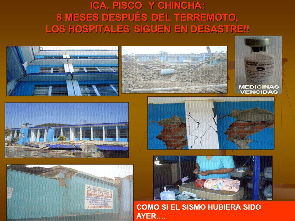 ICA, PISCO Y CHINCHA: 8 MESES DESPUÉS DEL TERREMOTO, LOS HOSPITALES SIGUEN EN DESASTRE!! COMO SI EL SISMO HUBIERA SIDO AYER….